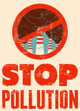 Stop Pollution sign with smokestacks. Environmental pollution poster. Vector illustration. Stock Images