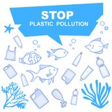 Stop pollution of water bodies with plastic containers. Underwater inhabitants and plastic in the pond. stock illustration