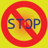 Stop poster bright red and yellow illustration Royalty Free Stock Photos