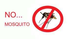 Stop/ Prohibit sign on mosquito Royalty Free Stock Images