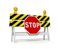 Stop prohibited barrier concept  3d illustration. Stop prohibited barrier 3d illustration  on white background Royalty Free Stock Photo