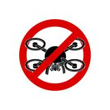 Stop quadrocopter. Aerial photography is prohibited. Red prohibi. Tory sign Stock Image