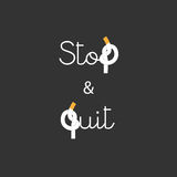 Stop and Quit Smoking concept Lettering Royalty Free Stock Image