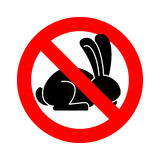 Stop rabbit. ban bunny hare is forbidden. Red prohibitory road s Stock Photos