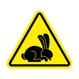 Stop rabbit. It is forbidden to prohibit bunny. Yellow prohibitory road sign Royalty Free Stock Images