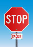 Stop Racism. Stop road sign symbol for fight against the racism Stock Photos