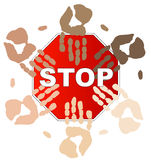 Stop racism. Ethnic hands on top of stop sign - concept - stop racism - vector stock illustration