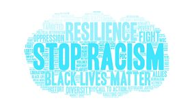 Stop Racism Animated Word Cloud stock video