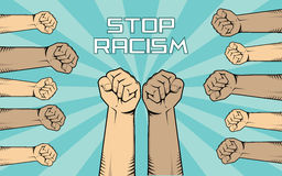 Stop racism illustration with a lot of people hand show fights against it with diversity skin color Stock Photography