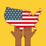 Stop racism image. Hands holding united states flag stop racism image vector illustration design royalty free illustration
