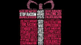 Stop Racism Word Cloud. On a black background Royalty Free Stock Photo