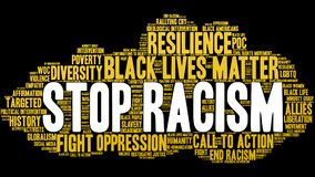Stop Racism Word Cloud. On a black background Stock Photos