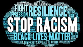 Stop Racism Word Cloud. On a black background Royalty Free Stock Photos