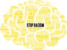Stop Racism Word Cloud. On a white background Royalty Free Stock Image