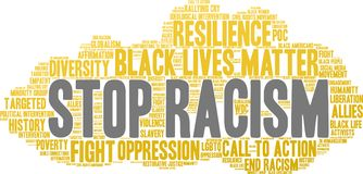Stop Racism Word Cloud. On a white background Stock Photography
