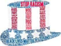 Stop Racism Word Cloud. On a white background Stock Photo