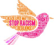 Stop Racism Word Cloud. On a white background Royalty Free Stock Photo