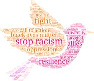 Stop Racism Word Cloud. On a white background Stock Photos
