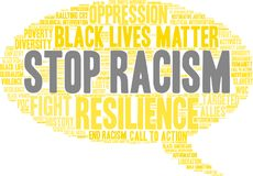 Stop Racism Word Cloud. On a white background Stock Images