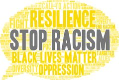 Stop Racism Word Cloud. On a white background Royalty Free Stock Photos