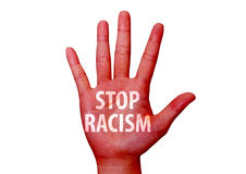 Stop racism written on a hand Royalty Free Stock Photography