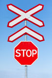 Stop Railway crossing signs royalty free stock photo