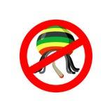 Stop Rastaman. Prohibited Stoned drug man. Dangers red sign rast. A hat and joint or spliff. Crossed-marijuana drug. Ban reggae Rastafarian Stock Photography