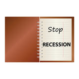 Stop recession on notebook color vector Royalty Free Stock Photo