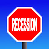 Stop recession sign. On blue sky illustration stock illustration