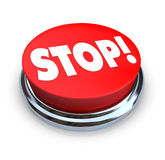 Stop - Red Button. A round button with the word Stop on it Royalty Free Stock Photos