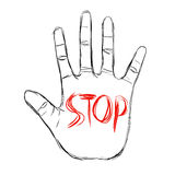 STOP. A red 'STOP' on forehand royalty free illustration
