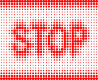 STOP red inscription on a white background Stock Image