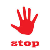 STOP! Red stop hand vector llustration. Vector illustration in flat style Royalty Free Stock Photography