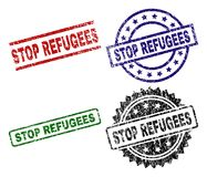 Grunge Textured STOP REFUGEES Seal Stamps. STOP REFUGEES seal prints with damaged style. Black, green,red,blue vector rubber prints of STOP REFUGEES caption with vector illustration