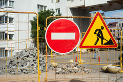 Stop! Repair sidewalk. Work ahead road sign. Repair sidewalk. Work ahead road sign royalty free stock image