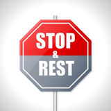Stop and rest sign. Stop and rest bicolor traffic sign on white royalty free illustration
