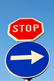 Stop and right Stock Photo