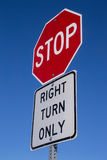 Stop, right turn only. Stock Photography