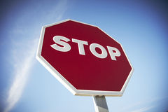Stop road sign stock photo