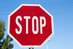 Stop road sign close up Royalty Free Stock Images