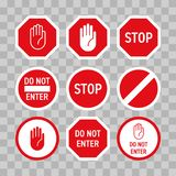 Stop road sign with hand gesture. Vector red do not enter traffic sign. Caution ban symbol direction sign. Warning stop signs. Stop road sign with hand gesture stock illustration
