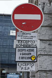 Stop road sign in Lisbon Stock Images