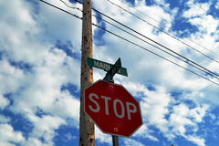 Stop Road sign. With sky in the background Royalty Free Stock Photo