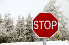Stop road sign. In snowy day in winter Royalty Free Stock Photos