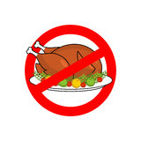 Stop roasted turkey. Prohibited fried food. Red prohibition sign Royalty Free Stock Image