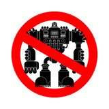 Stop Robot Battle. Forbidden red road sign. No Cyborg warrior future. Ban Vector illustration. vector illustration