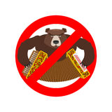 Stop Russian. It is forbidden to people of Russia. Crossed-bear Stock Photos