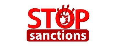 Stop sanctions concept.Illustration. Logo concept on white isolated background. Red and White. arms outstretched Royalty Free Stock Images
