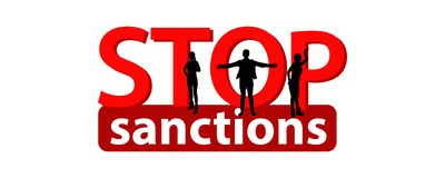 Stop sanctions concept.Illustration. Logo concept on white isolated background. Red and White. hands and people are strong Royalty Free Stock Photography