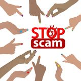 Stop scam. fraud and fraud. Hands pointing to the inscription vector illustration